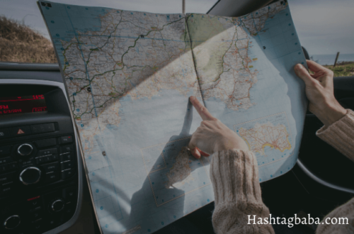 hashtags for travel, girl in a car image